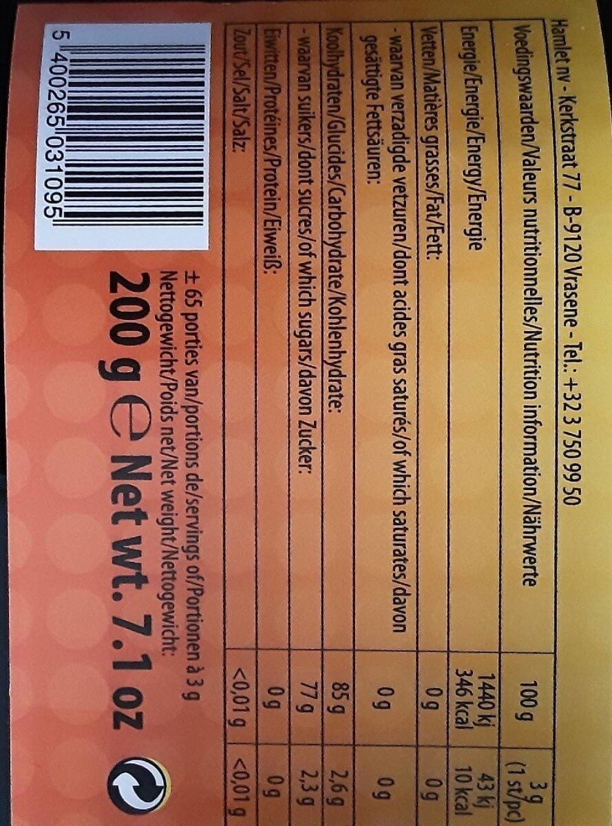 Chewing gum - Informations nutritionnelles - fr