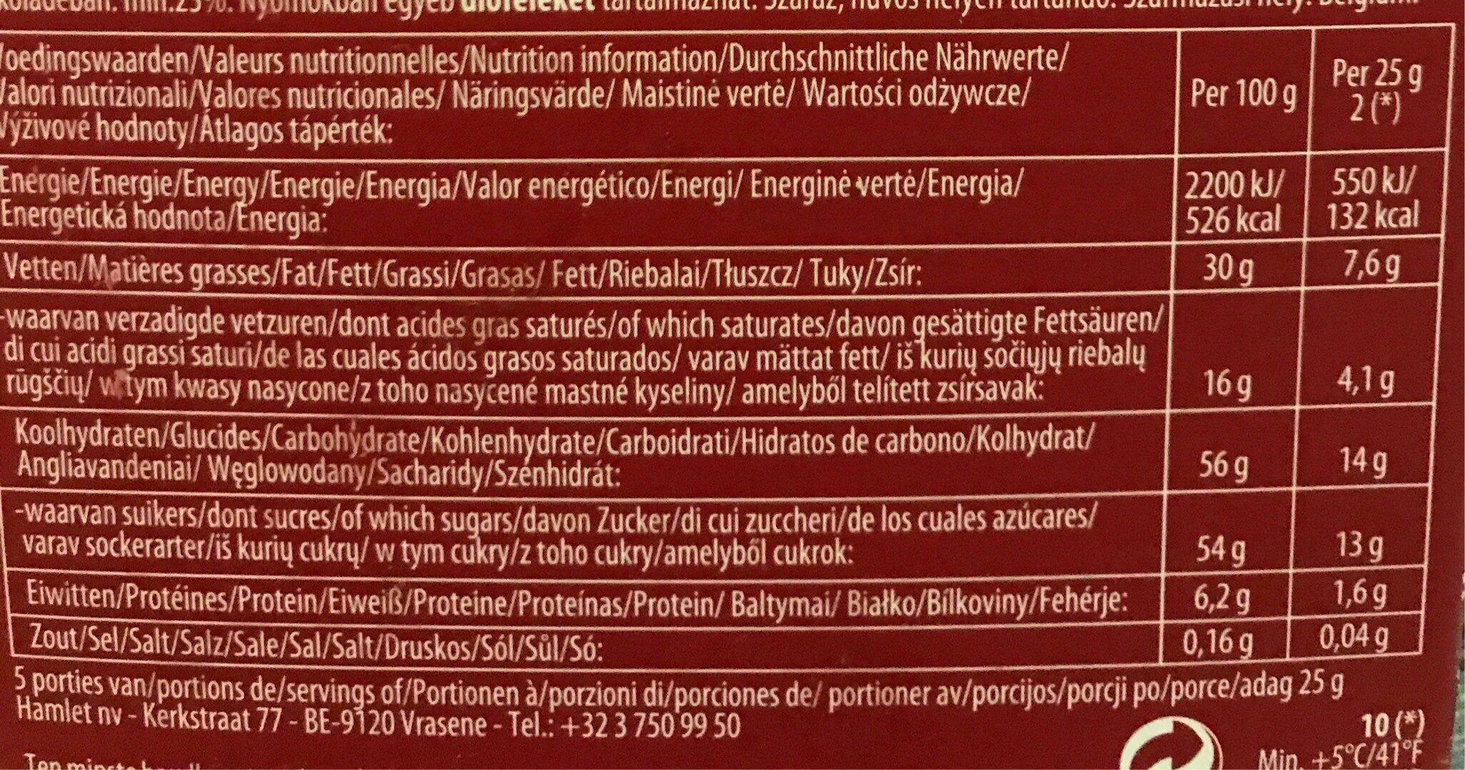 Chocolats - Informations nutritionnelles - fr
