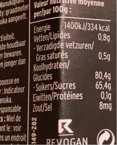 Miel manuka - Voedingswaarden - fr
