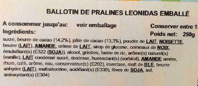 Ballotin de pralines Leonidas emballé - Ingrédients - fr