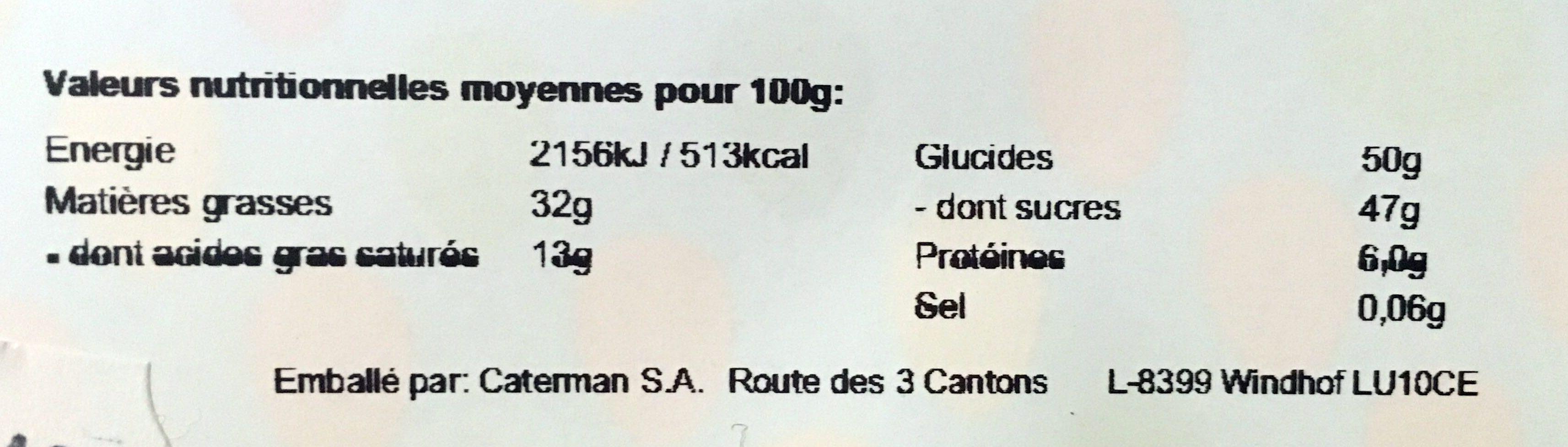 Ballotin de pralines Leonidas emballé - Informations nutritionnelles - fr