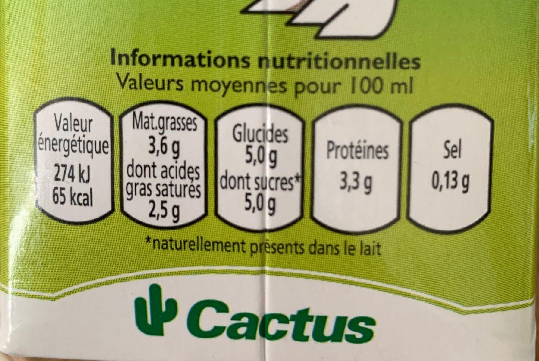Lait frais entier - Nutrition facts - en