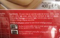 Lasagne Bolognese 400g - Ingrediënten
