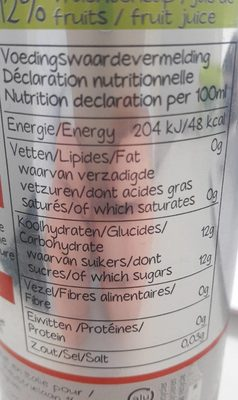 Organic sparkling juice drink - Nutrition facts