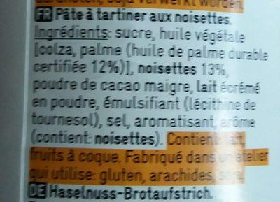 Pâte à tartiner aux noisettes - Ingredienti - fr