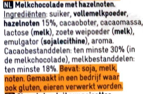 Chocolat au lait avec noisettes - Ingrediënten - nl
