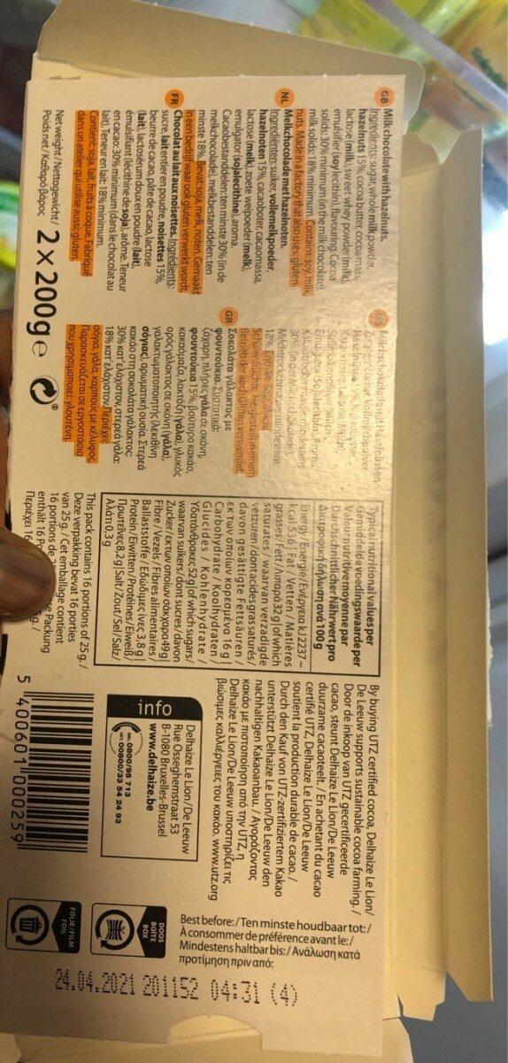 Chocolat au lait avec noisettes - Voedingswaarden - fr