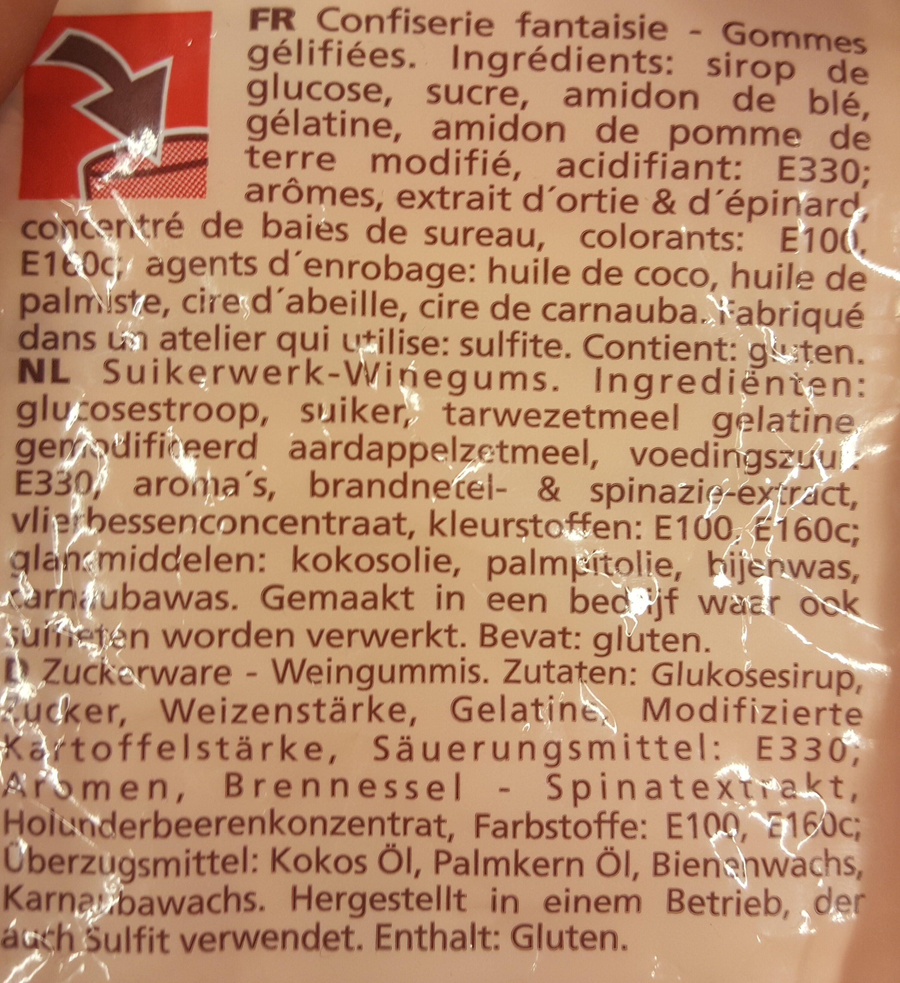 Gommes gelifiees - Ingrédients