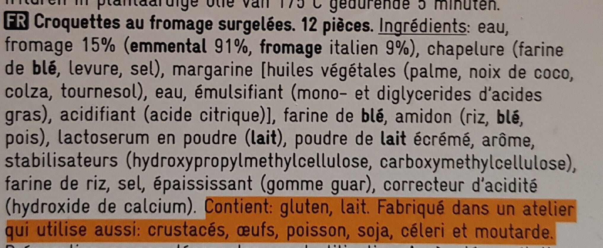 Croquettes au fromage - Ingredients