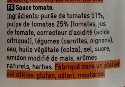 sauce pour pâtes - Ingrédients