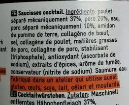 Cocktail sausages Delhaize - Ingrediënten - fr