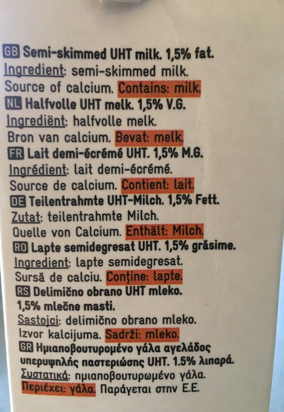 Lait demi-écrémé - Ingredients - en