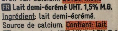 Lait demi-écrémé - Ingrediënten