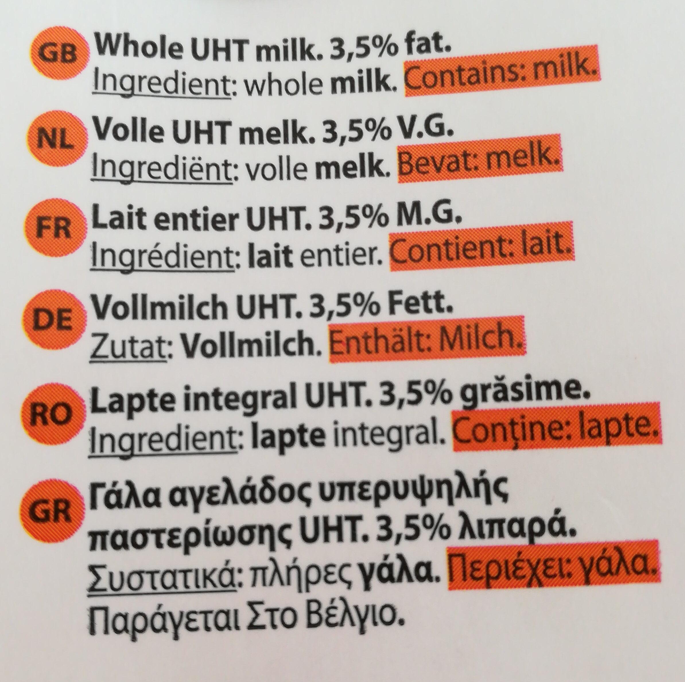 Milk whole delhaize - Ingredienti - fr