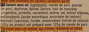 Salami sans ail - Ingredienti - fr