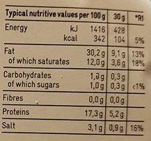 Salami sans ail - Valori nutrizionali - fr