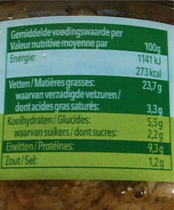 pâtés de légumes - Informations nutritionnelles - fr