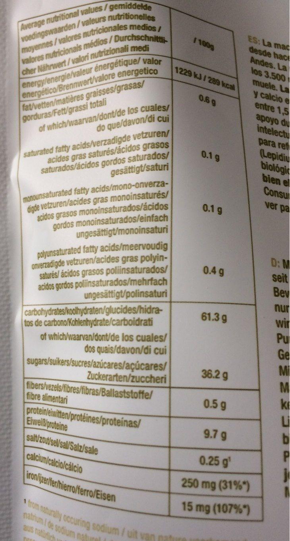 Maca Raw Powder - Voedingswaarden