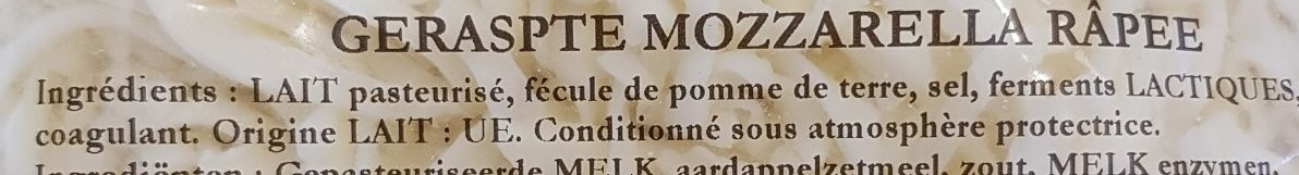 Mozzarella râpée - Ingrédients - fr