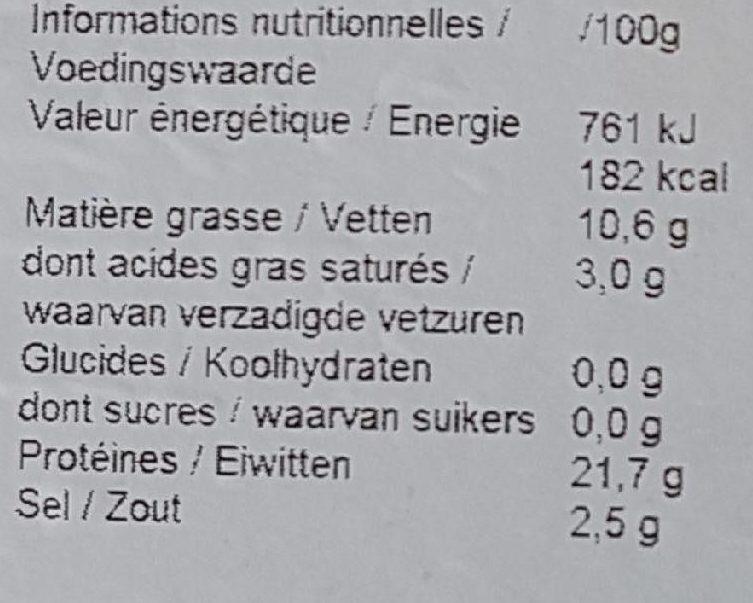 Saumon Fumé Norvégien - Voedingswaarden - fr