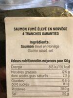 Saumon Fume de Norvège - Ingrédients - fr