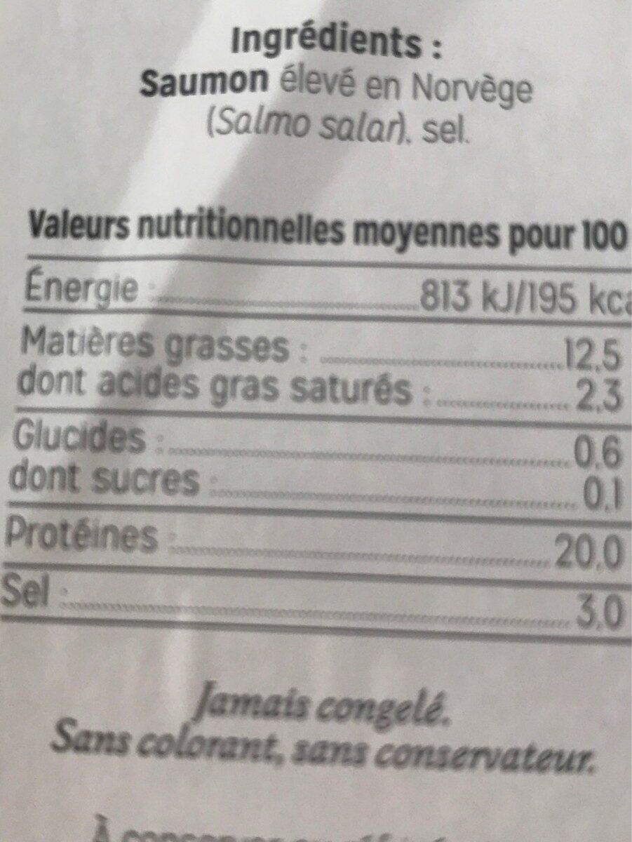 Saumon Fume de Norvège - Informations nutritionnelles - fr