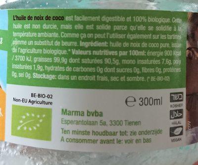 Huile de coco extra virgin - Ingrediënten