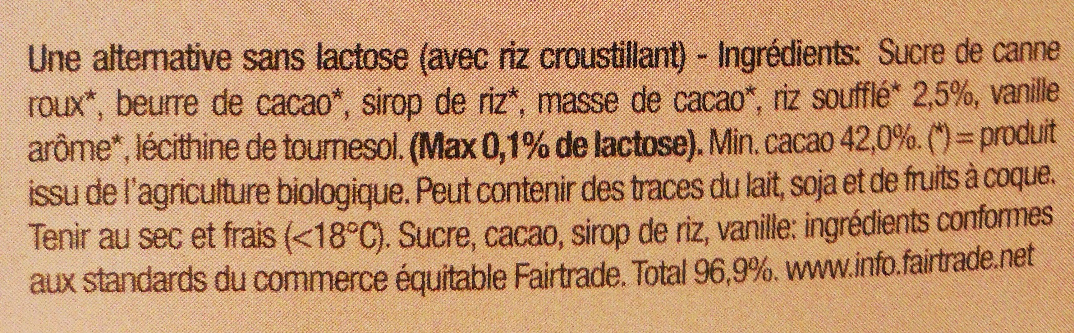 Chocolat lait de riz - Ingredients