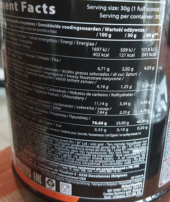 shake protéiné - Voedingswaarden - fr