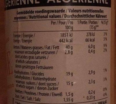 Sauce algerienne - Informations nutritionnelles
