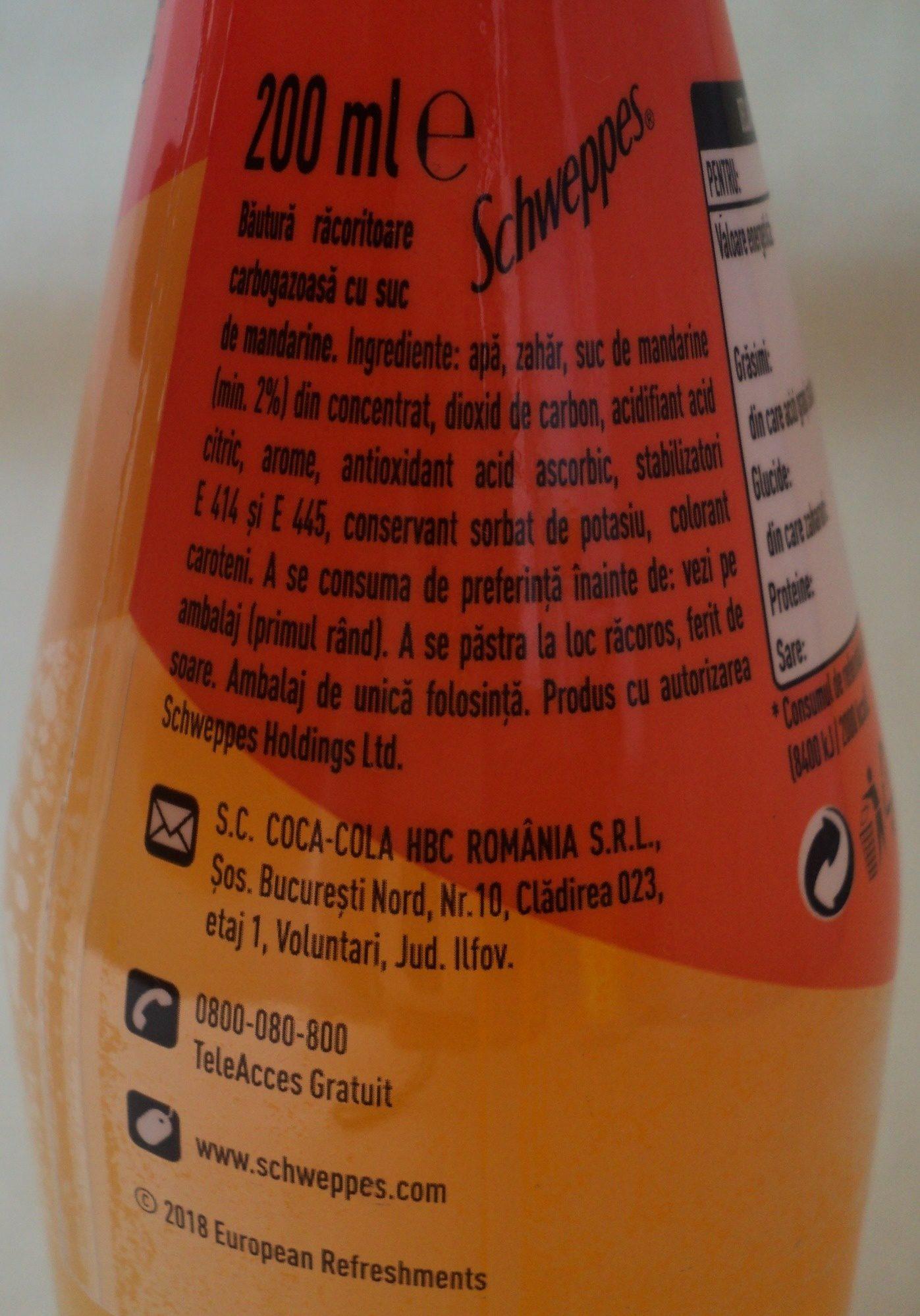 Schweppes Mandarin - Ingredients