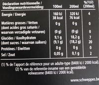Schweppes Prem. Tonic Ginger Ale 20 CL Fles - Informations nutritionnelles - fr