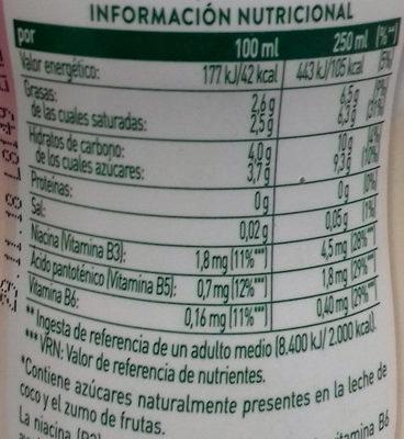 Coco Genial Frutas del Bosque AdeS - Información nutricional