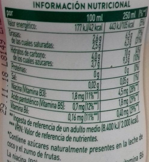 Coco genial: frutas del bosque - Información nutricional