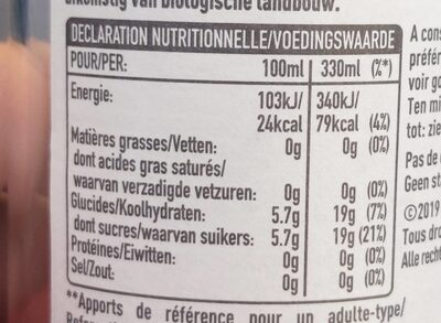Honest bio Lemonade - Voedingswaarden - fr