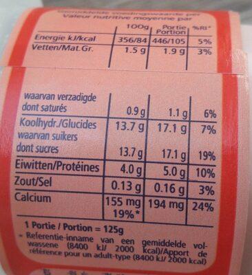 Yaourt demi-écrémé fraise - Voedigswaarden