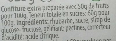 Confiture de rhubarbe fraîche - Ingrediënten - fr