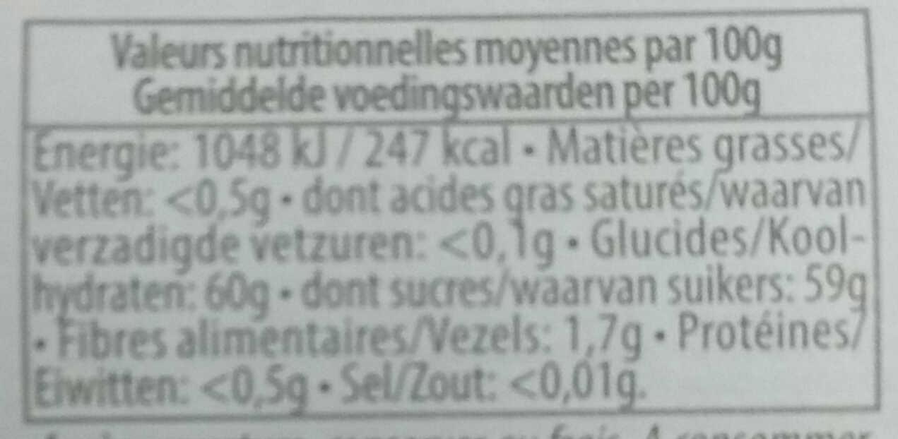 Confiture de rhubarbe fraîche - Voedingswaarden - fr
