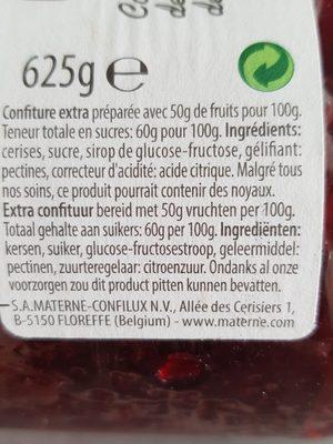 Confiture Cerises MATERNE - Ingrediënten - en