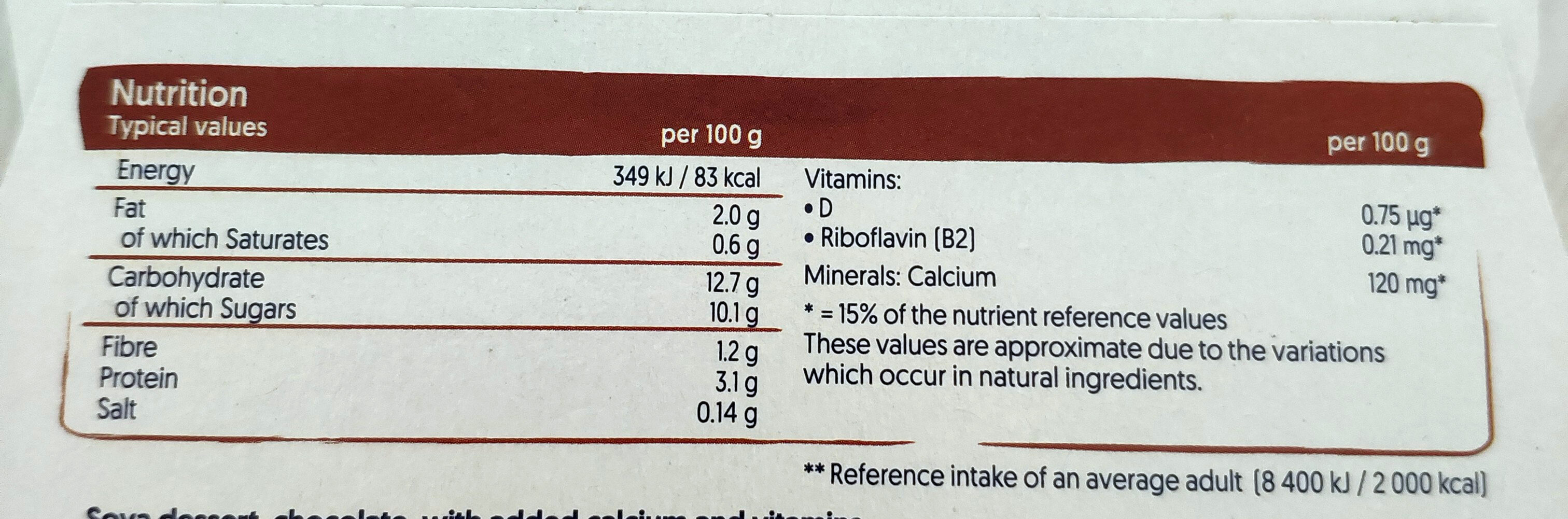 Silk & Smooth Chocolate Plant-based Dessert - Nutrition facts - en
