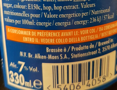 Ciney brune - Nutrition facts - fr