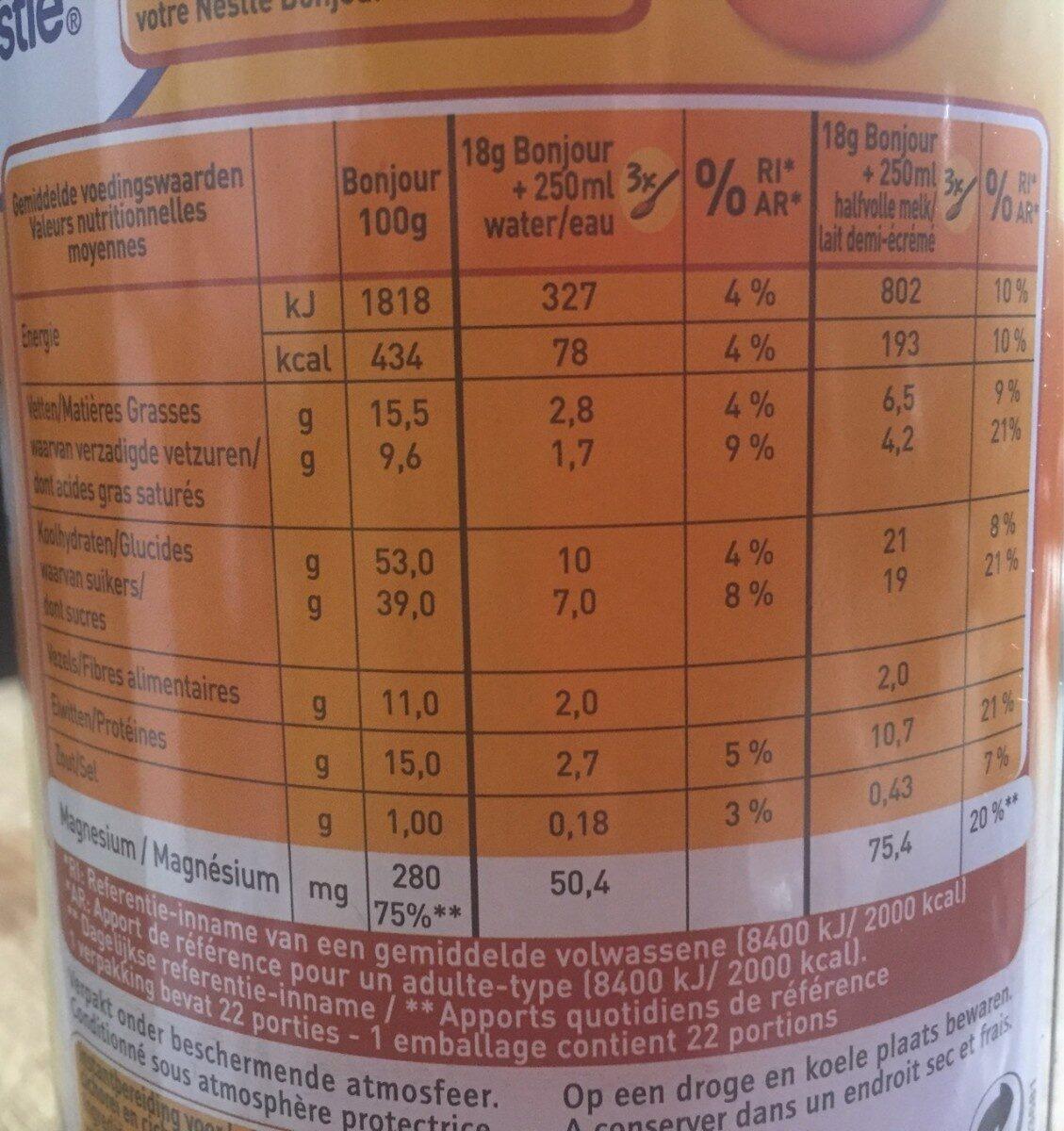 Bonjour cafe au lait à la chicorée - Informations nutritionnelles - fr