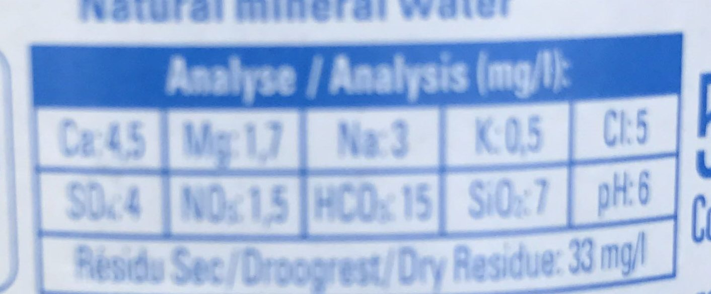 Eau minérale naturelle - Informations nutritionnelles - fr