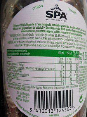 SPA citron - Voedingswaarden
