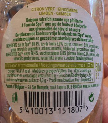 Duo Lime Ginger - Ingrediënten