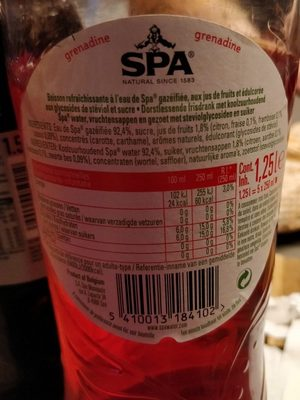 Spa grenadine pétillant fruit - Ingrediënten