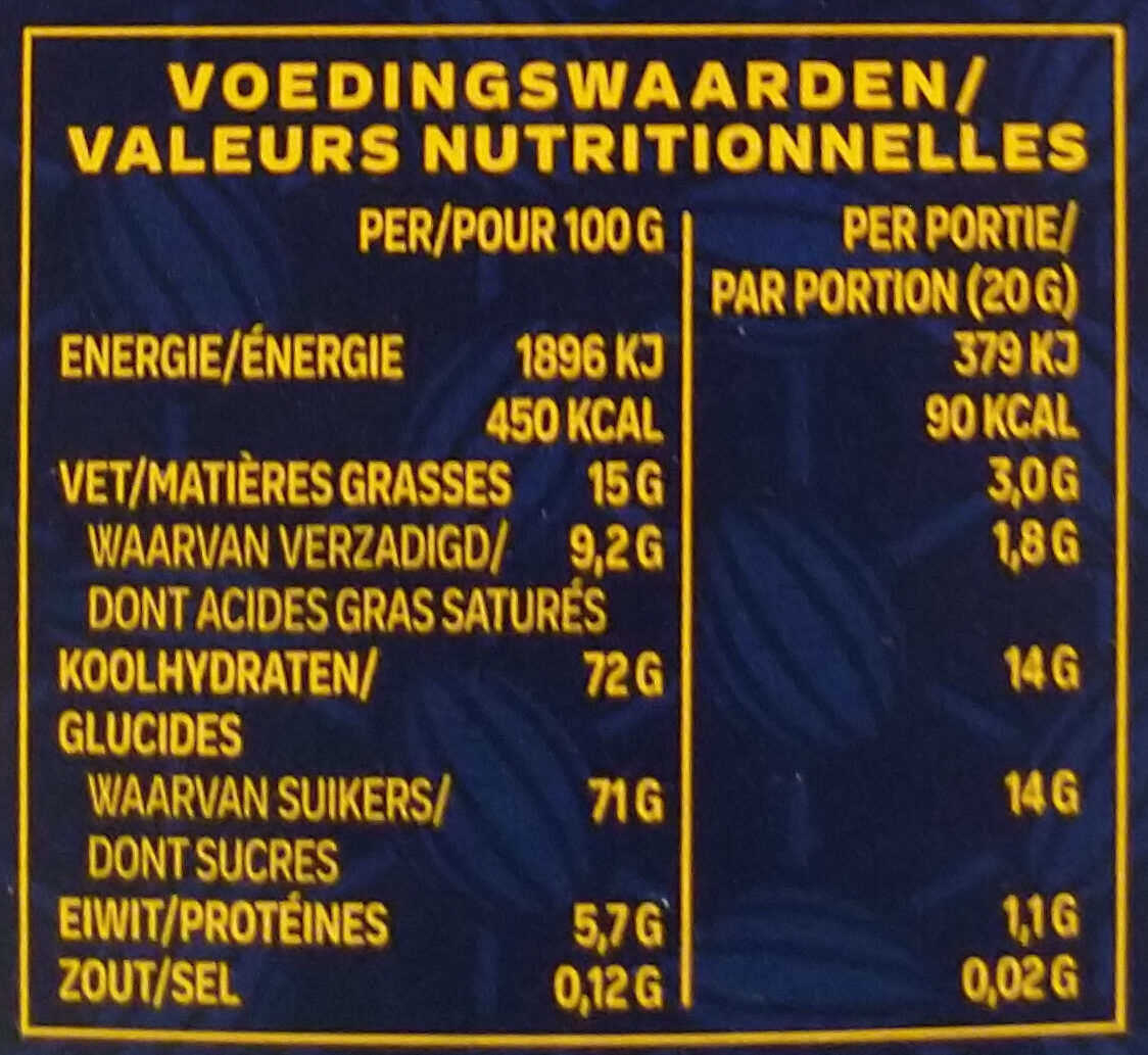 Sensations hiver lait - Informations nutritionnelles - fr