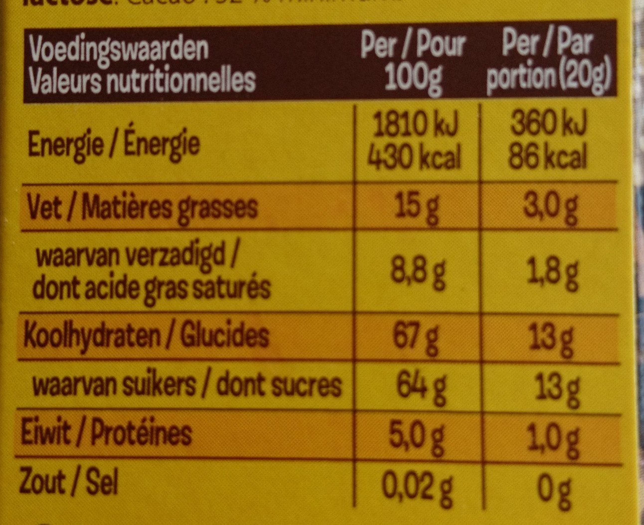 KWATTA Fondant - Voedingswaarden - fr