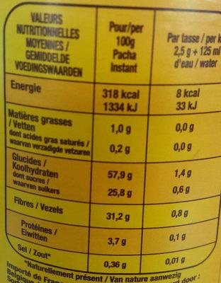 Instant Chicorée Soluble - Voedingswaarden