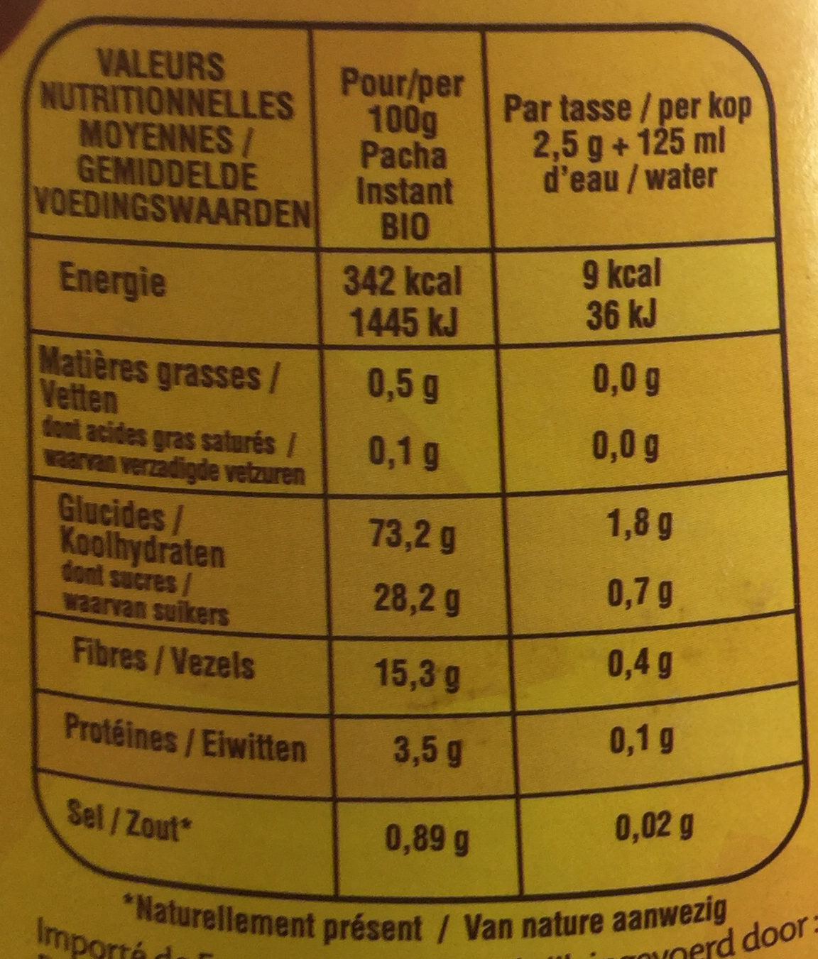 Instant Bio - Nutrition facts